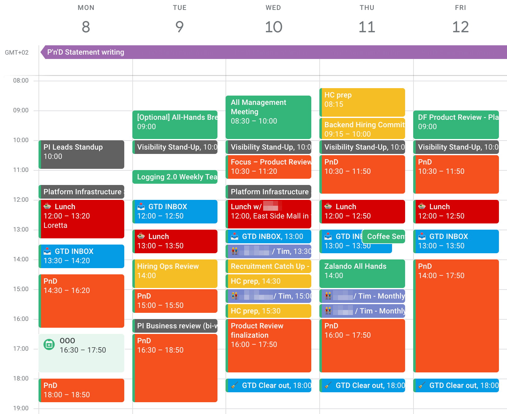 Screenshot of a week in my Google Calendar where I could focus on preparing documents for product review, performance assessment, and career development sessions. Roughly 40% of the 40 work hours are orange 'focus' blockers across the week.