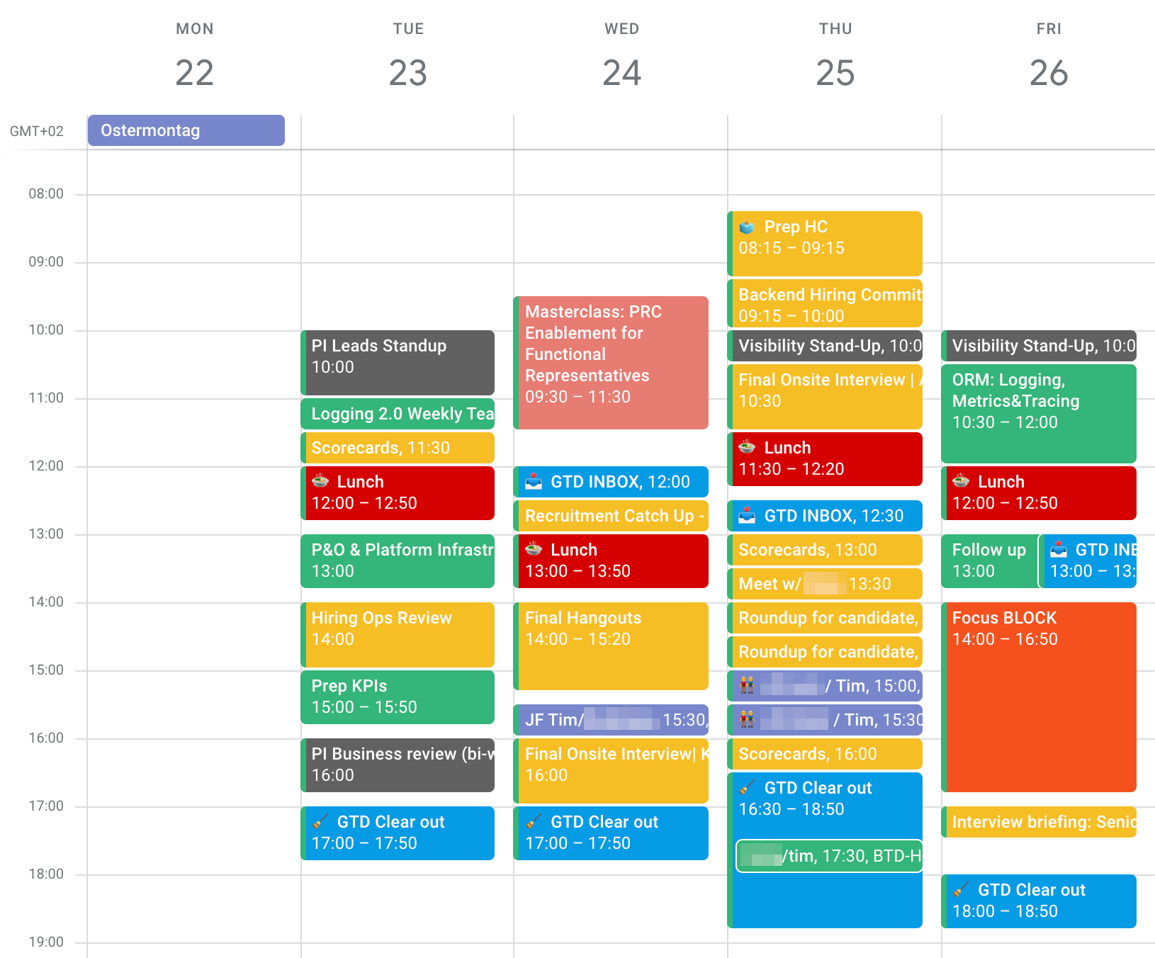 Screenshot of a week in my Google Calendar that was focused more on hiring. Two days consist almost completely out of yellow events.