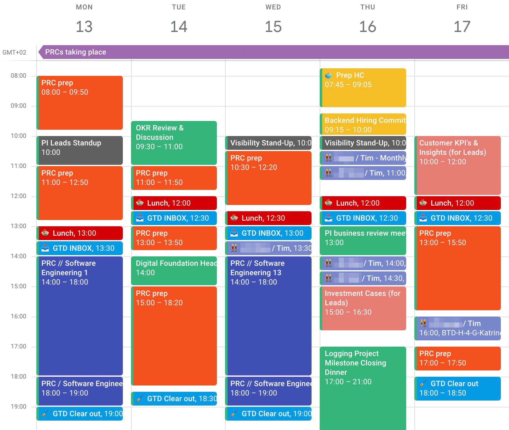 Screenshot of a week in my Google Calendar where I spent most of the time preparing performance assessment material and participated in the corresponding alignment meetings, including some overtime. Most days are orange because of the focused preparation, and blue because of the career development & performance management character of the events.