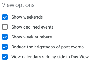 Screenshot of Google Calendar's view options configuration with 'show declined events' deselected
